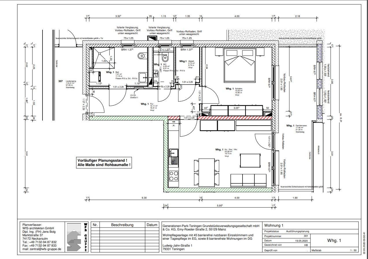 Grundriss der Wohnung 001 Generationenpark Teningen