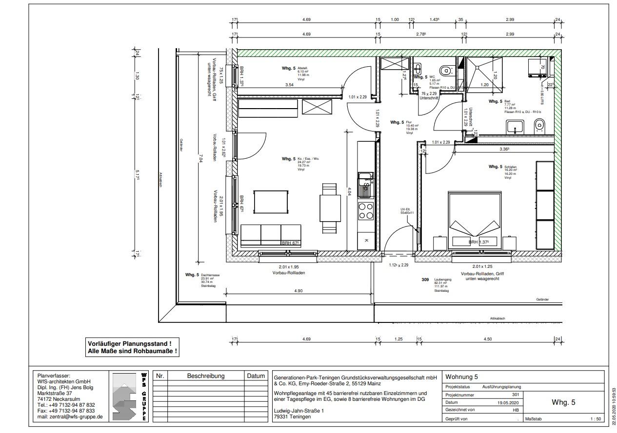 Wohnung 5 im Generationenpark Teningen: wohnen Sie im Dachgeschoss des Generationenpark Teningen und verfügen über ca. 78 m²!