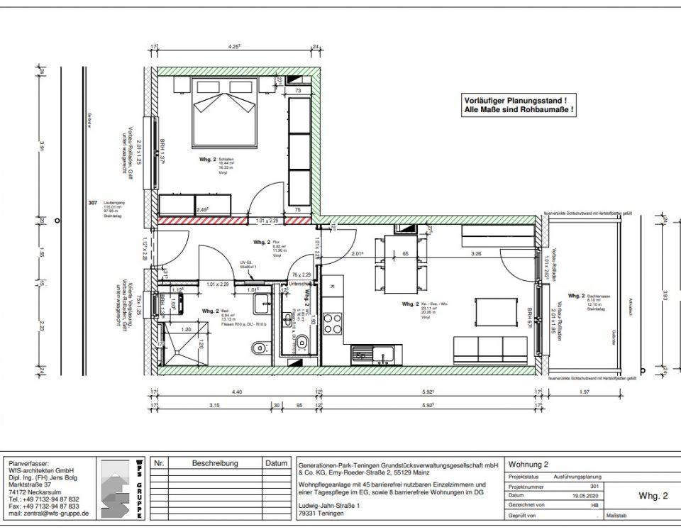 Wohnung 2 im Generationenpark Teningen: helle 2 1/2 Zimmer Wohnung im Dachgeschoss
