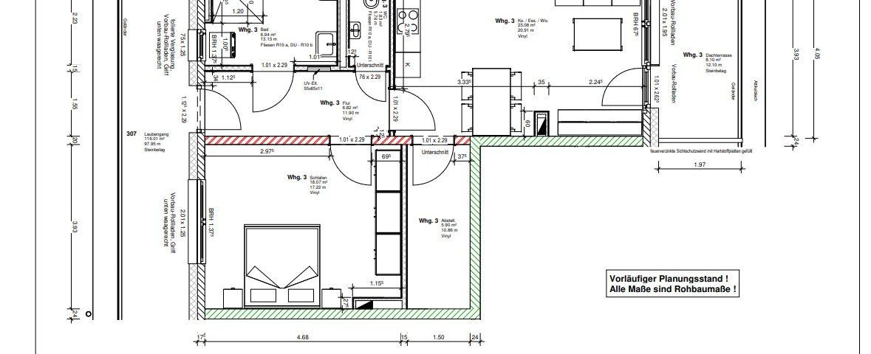 Wohnung 3 im Generationenpark Teningen: eine helle 2 1/2 Zimmer Wohnung mit über 66 m²
